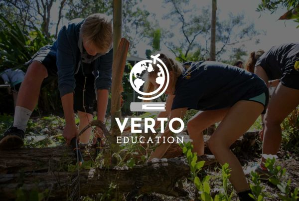 Verto Education logo over image of students learning in the field