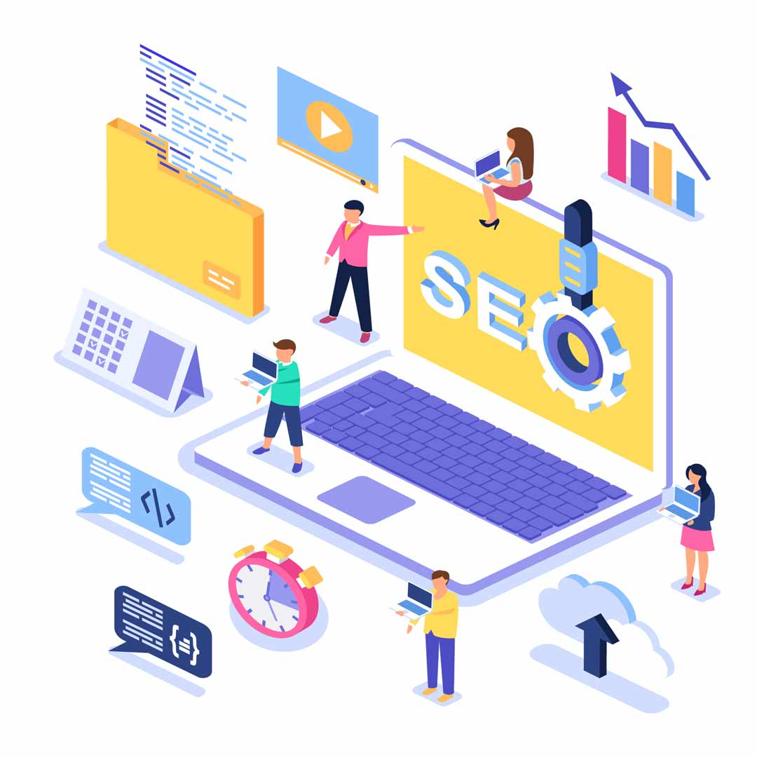 Isometric graphic representing our work in SEO