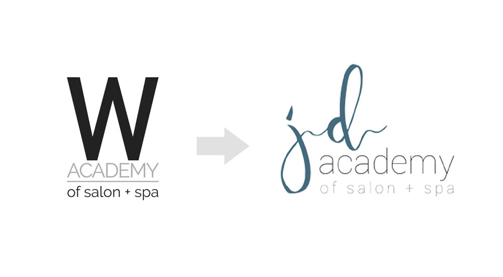 Graphic showing brand change from W Academy to JD Academy